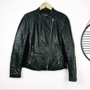 Kenneth Cole Reaction Black Leather Jacket Medium
